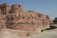 Red Fort of Agra, India. Wall of the Agra Fort.It is the moat and red towers stock images