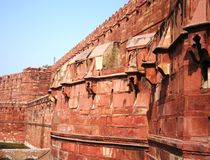 Red Fort, Agra. Red Fort walls in Agra Stock Image