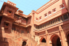 Red fort bikaner rajasthan india. Huge ancient fort and palace grounds containing ruins monuments museums paintings and carvings Stock Image