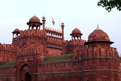 Red Fort, New Delhi, India. The Red Fort built in red sandstone is one of the most visited landmarks in New Delhi. India stock images
