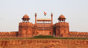 Red Fort of Delhi. The Red Fort of Delhi, a UNESCO world heritage site, with Indian flag flying in front royalty free stock photography