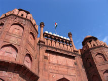 Red Fort, Delhi, India. The indian flag flies over the imposing entrance to the Red Fort in Delhi, India stock photos