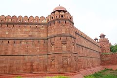 The Red Fort in Delhi, India. It is a historical fort in the city of Delhi in India. The fort was the residence of the emperors of the Mughal dynasty for royalty free stock photos