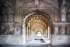 The Red fort of Delhi. Interior arches of Red Fort in Delhi Royalty Free Stock Photography