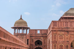 Red fort dome and wall Royalty Free Stock Image