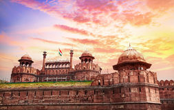 Red fort in India. Lahore Gate of Red Fort with Indian national flag in Old Delhi, India Stock Image