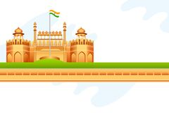 Red Fort in India. Vector illustration of Indian tricolor on Red Fort in India Royalty Free Stock Photo