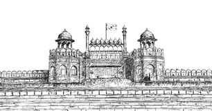 Red Fort, New Delhi, India - Detailed Vector Sketch Illustration Stock Image