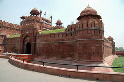 Red Fort in New Delhi, India. Red Fort was the residence of the Mughal emperor of India unil 1857 and was designated a UNESCO World Heritage Site in 2007 Stock Photos