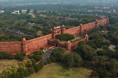 Free Red Fort Wall In New Delhi, India, Aerial Drone View Stock Photo - 178447360