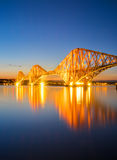 The red Forth Railbridge at night Stock Image