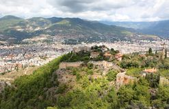 Red fortress. Colourful panorama of an ancient  red fortress in the Turkish city of Alanya Stock Images