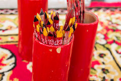 Red fortune stick at a temple Stock Images