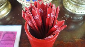 Red Fortune sticks Stock Photography