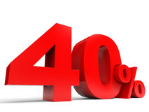 Red forty percent off. Discount 40%. Royalty Free Stock Photo