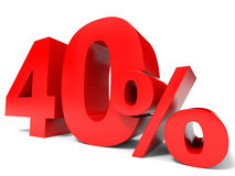 Red forty percent off. Discount 40%. Royalty Free Stock Image