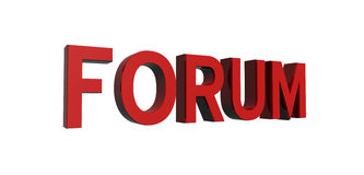 Red-forum. 3D render of reflective red text on a white background, forum Stock Photos