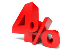 Red four percent off. Discount 4%. Royalty Free Stock Photo