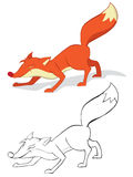 Red fox. Fun red fox. Color and outline Royalty Free Stock Images