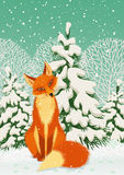 Red fox. Sitting red fox in the winter forest. Vector illustration Royalty Free Stock Photo