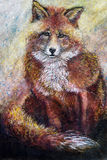 Red fox art drawing Royalty Free Stock Photo