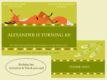 Red fox. Birthday Invitation. Boho style. Royalty Free Stock Images