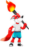 Red fox cartoon holding torch. This is a illustration of red fox cartoon  holding torch in his hand Royalty Free Stock Photography