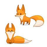 Red fox character. Cartoon red fox character, vector illustration, isolated on white background Stock Photo