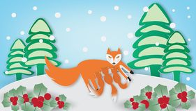 Red fox and cub in winter season vector illustration