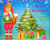 Red fox cute girl  holding gift box and standing near Christmas tree with gifts   Royalty Free Stock Images