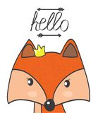 Red fox. Fairy with a crown painted on a white background with the word hello Stock Image