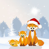 Red fox family at Christmas hat Royalty Free Stock Photo