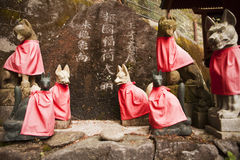 Red Fox Guardians at Shinto Shrine Royalty Free Stock Photo