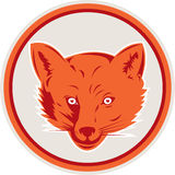 Red Fox Head Front Circle Retro Royalty Free Stock Photo
