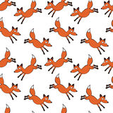 Red fox. Seamless vector pattern background. Royalty Free Stock Photo