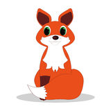 Red fox. Sits on a white background Royalty Free Stock Photo