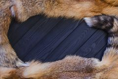 Red fox skin on a black wooden background. Beautiful fur of a red fox with tails.  Royalty Free Stock Images