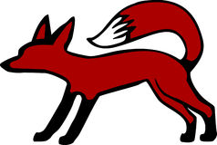 Red Fox. Stylized red fox illustration with bushy tail curved over the back Stock Photo