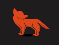Red fox. Vector schematic silhouette red fox Stock Photo