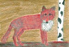 Red Fox - Vulpes vulpes - Crayons Drawing Royalty Free Stock Photo