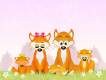 Red foxes in the forest. Illustration of red foxes in the forest stock illustration
