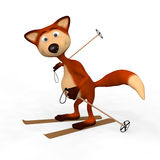 Red Foxes Skier. Royalty Free Stock Photography