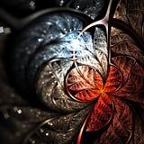 Red fractal flower or butterfly. Digital artwork for creative graphic design stock illustration