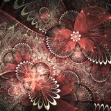 Red fractal flowers. Digital artwork for creative graphic design Royalty Free Stock Photos