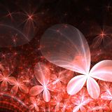 Red fractal flowers with sparkles. Digital artwork for creative graphic design Stock Image