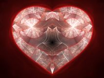 Red fractal heart Stock Photography