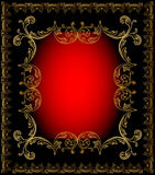 Red frame background with gold ornament Stock Images