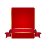 Red frame with banner. Isolated on white background Stock Photography