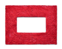 Red Frame border texture. Frame border texture. Handmade from red color threads royalty free stock image