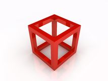 Red frame cube Royalty Free Stock Photography